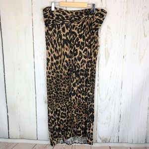 Black Label Chicos Knit Animal Print Maxi Skirt